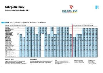 Fahrplan Plaiv - Engadin Bus