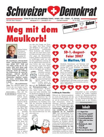 Weg mit dem Maulkorb! - Schweizer Demokraten SD