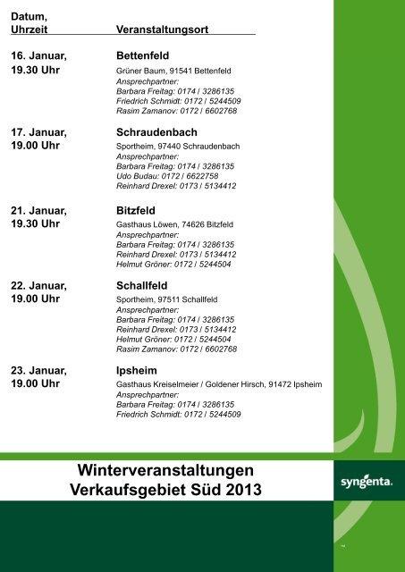 Winterveranstaltungen Verkaufsgebiet Süd 2013 - Syngenta