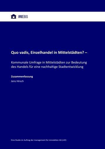 Die IREBS-Studie als PDF zum Download - mfi Management für ...