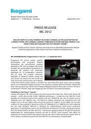 PRESS RELEASE IBC 2012 - Ikegami