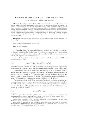 HIGH-RESOLUTION FLUX-BASED LEVEL SET ... - G-CSC Home
