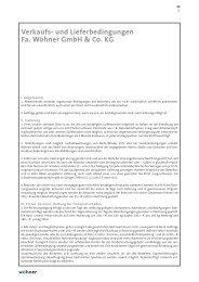 Verkaufs- und Lieferbedingungen Fa. Wöhner GmbH & Co. KG