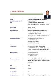 1. Personal Data - CSK Himachal Pradesh Agricultural University