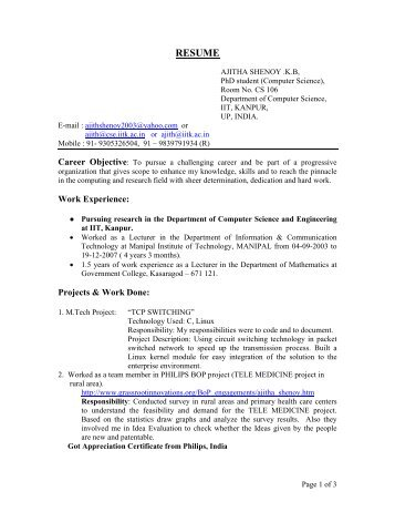 resume department of computer science and engineering iit - Computer Science Resume Iit