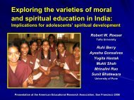 Exploring the varieties of moral and spiritual ... - Tufts University