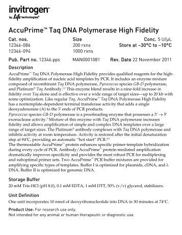 AccuPrime™ Taq DNA Polymerase High Fidelity   Invitrogen