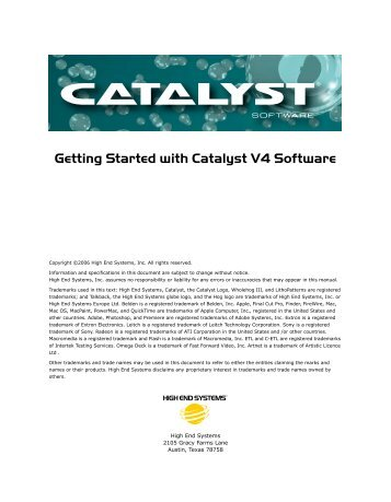 Getting Started with Catalyst V4 Software - High End Systems