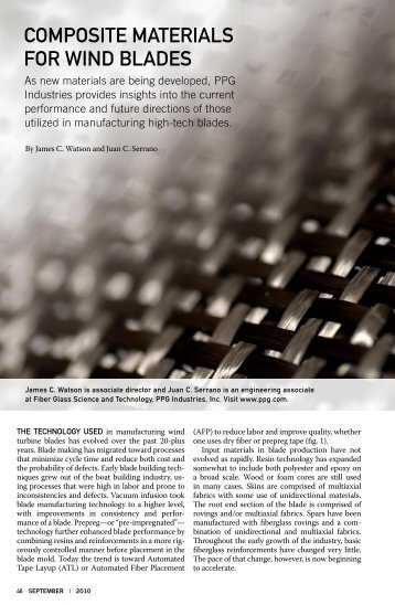 Composite materials for Wind Blades - Wind Systems Magazine