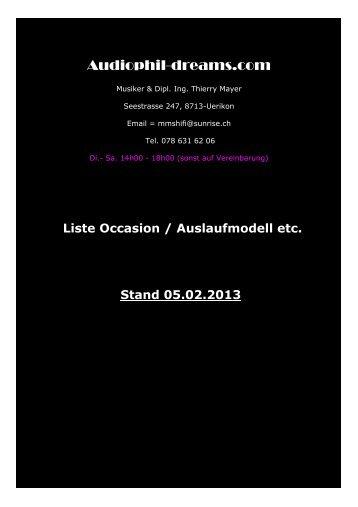 Occasion Auslaufmodelle Stand 05.02.2013 - Audiophil-Dreams.com