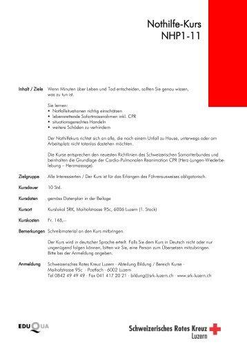 Nothilfe-Kurse 2012 - Fahrschule Eliane Burri
