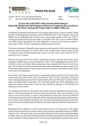 press release - Global Bio-chem Technology Group Company Limited