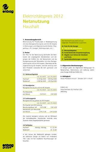 Elektrizitätspreis 2012 Netznutzung Haushalt - Enbag AG