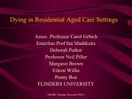 Dying in residential aged care settings