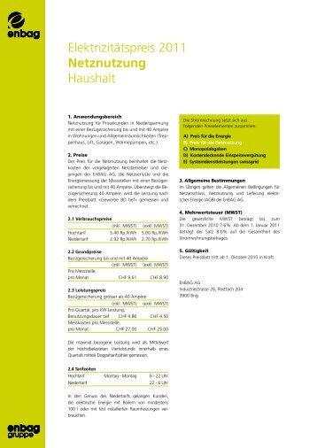 Elektrizitätspreis 2011 Netznutzung Haushalt - Enbag AG
