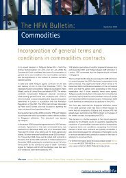The HFW Bulletin: Commodities - Holman Fenwick Willan
