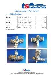 Motoren, Servos, HFW, Zubehör - TS-Modelltechnik