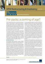 Pre-packs: a coming of age? - Holman Fenwick Willan