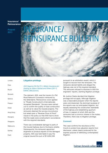 INSURANCE/ REINSURANCE BULLETIN - Holman Fenwick Willan