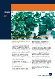 MYANMAR - OPEN FOR BUSINESS? - Holman Fenwick Willan
