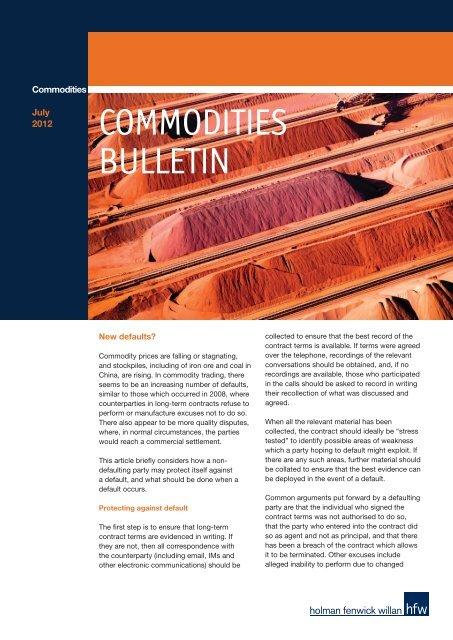 COMMODITIES BULLETIN - Holman Fenwick Willan