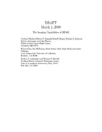 DRAFT March 1 , 2000 The Lmaging Capabilities of HESSL ... - Nasa