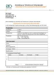 Anmeldung + Projekvereinbarung für Homepage - RIO GmbH