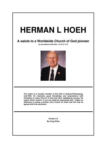 Herman L Hoeh: Salute to a Pioneer (article - Origin of Nations