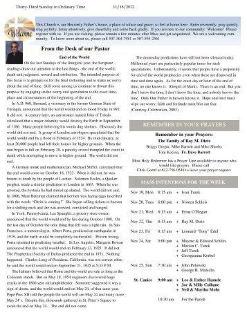 Sunday Bulletin - November 18, 2012 - Most Holy Redeemer Church