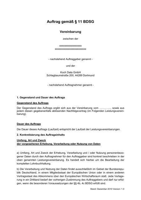 Muster Einer Datenschutzvereinbarung Koch Data Gmbh