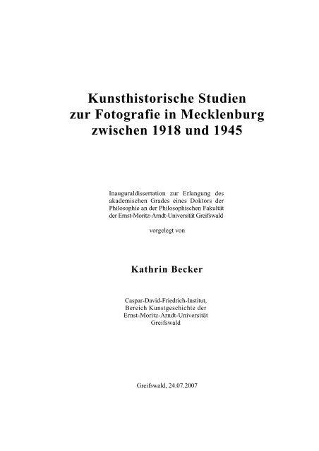 Kunsthistorische Studien Zur Fotografie In Mecklenburg Zwischen