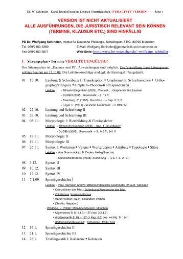 aus Zeitgründen nicht mehr aktualisiertes - PD Dr. Wolfgang Schindler