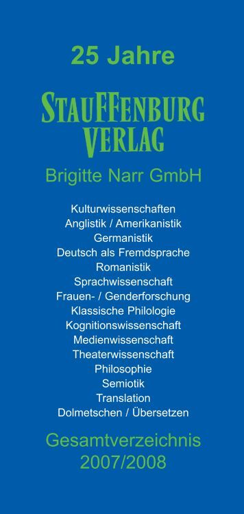 25 Jahre - Stauffenburg Verlag