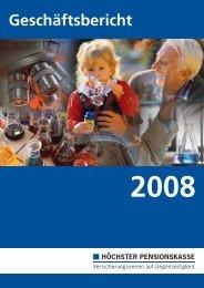 Geschäftsbericht 2008 - Höchster Pensionskasse VVaG