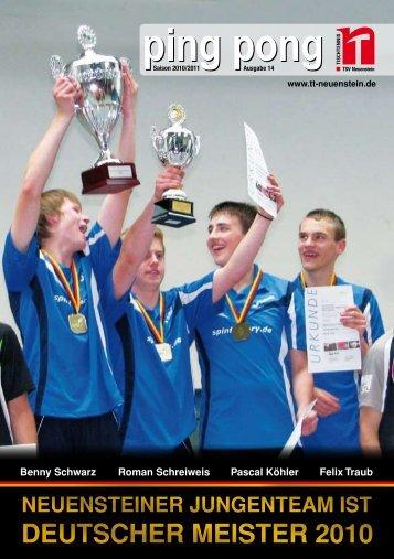 PingPong - TSV Neuenstein Tischtennisabteilung