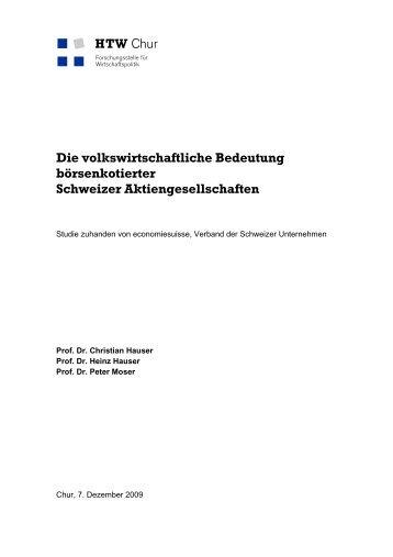 Die volkswirtschaftliche Bedeutung börsenkotierter Schweizer ...