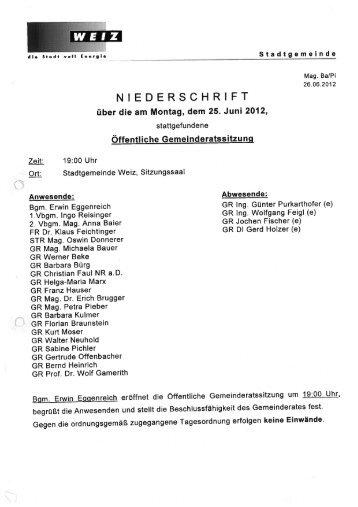 Protokoll der Gemeinderatssitzung vom 25.06.2012 - Weiz