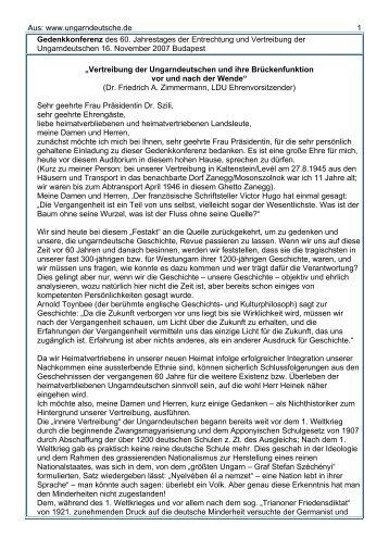 Gedenkkonferenz zur Vertreibung - Ungarndeutsche.de