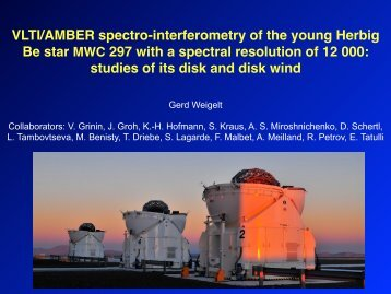 VLTI/AMBER spectro-interferometry of the young Herbig Be ... - ESO