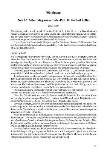 Würdigung Zum 60. Geburtstag von o. Univ.-Prof. Dr. Herbert Kofler