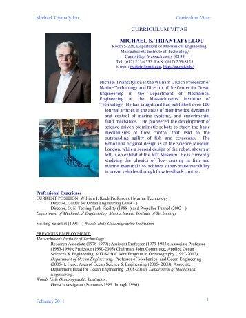 curriculum vitae michael s. triantafyllou - MIT Department of ...