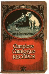 His Master's Voice General Catalogue 1920 - British Library - Sounds
