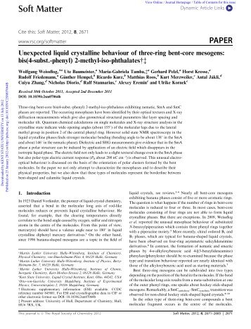 thesis liquid crystals Synthesis and mesogenic properties of liquid crystals with bent core-tail substitution geometry a thesis submitted to kent state university in partial fulfillment of.