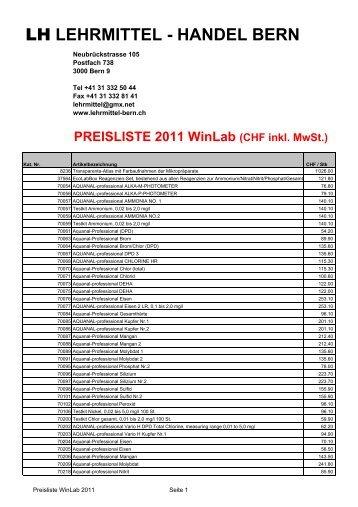 Preisliste WinLab 2012 - lehrmittel-bern.ch