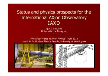Status and physics prospects for the International AXion - Institute for ...