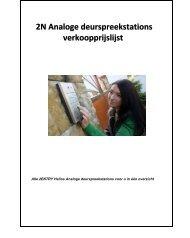 2N Analoge deurspreekstations verkoopprijslijst - Phone Master
