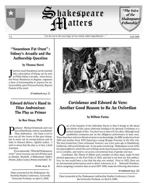 Coriolanus and Edward de Vere - The Shakespeare Fellowship