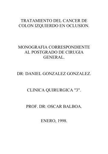 tratamiento del cancer de colon izquierdo en oclusion