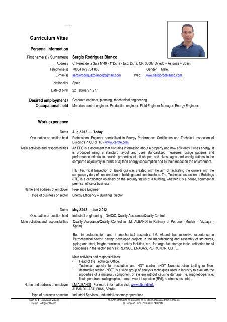 blanco cv Europass CV (English)   Sergio RodrÃguez Blanco