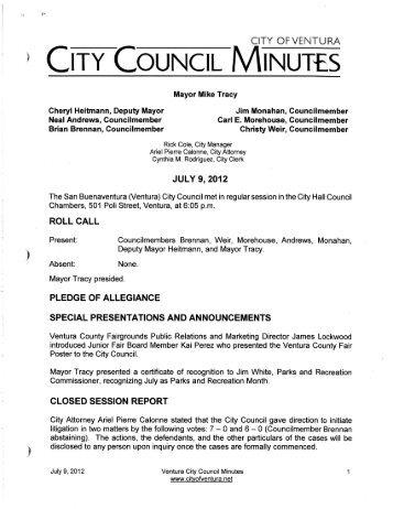 adjournment - City Of Ventura